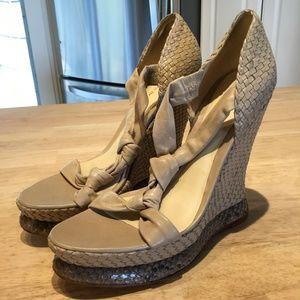 Alexandre Birman Leather/Snakeskin Wedge Sandals